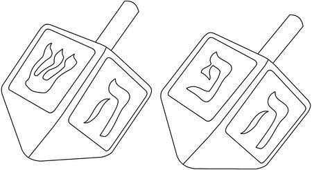 Vector illustratie kleurplaat van dreidels voor de joodse feestdag Chanoeka.