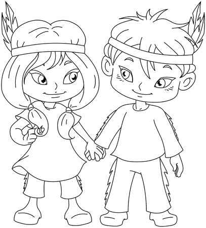Vector illustration coloring page of children dressed as Indians and holding hands for Thanksgiving or Halloween.