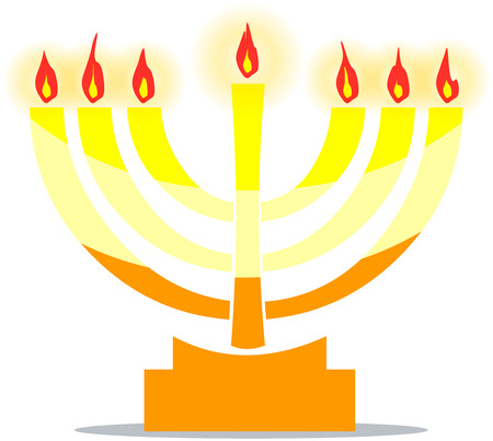 Vector illustration of Jewish temple lamp the Menora with lights.  Illustration
