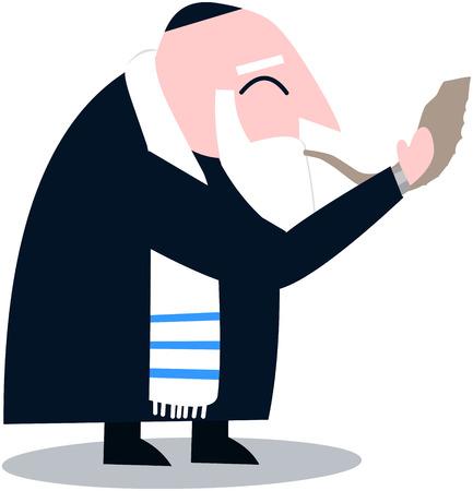 Vector illustration of a Rabbi with Talit blows the shofar the Jewish holiday Yom Kippur.