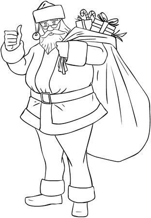 Vector illustration coloring page of Santa Claus holding a huge bag full of presents for Christmas.  Illustration