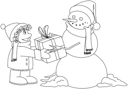 Vector illustration coloring page of a snowman giving a present to a child for Christmas.  Illustration
