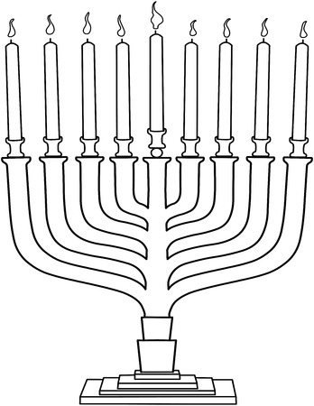 inked: Vector illustration coloring page of Hanukkiah with candles for the Jewish holiday Hanukkah.  Illustration