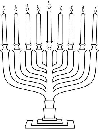 jewish holiday: Vector illustration coloring page of Hanukkiah with candles for the Jewish holiday Hanukkah.  Illustration