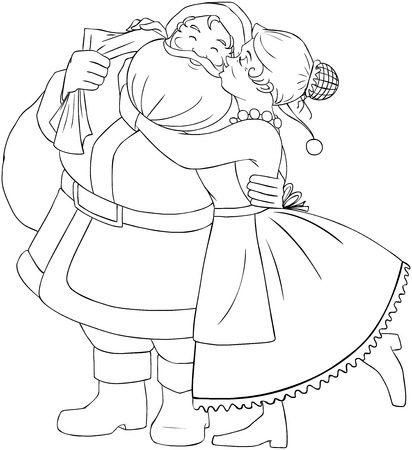mrs claus: Vector illustration coloring page of Mrs Claus kisses Santa on cheek and hugs him for christmas.
