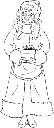 mrs  claus: Vector illustration coloring page of Mrs Claus holding a present for Christmas and smiling.