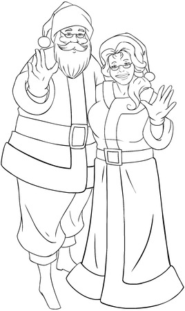Vector illustration coloring page of Santa and Mrs Claus standing hugged and waving their hands for Christmas.