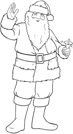 Vector illustration coloring page of Santa Claus smiling and ringing a bell and waving his hand for Christmas.  Illustration