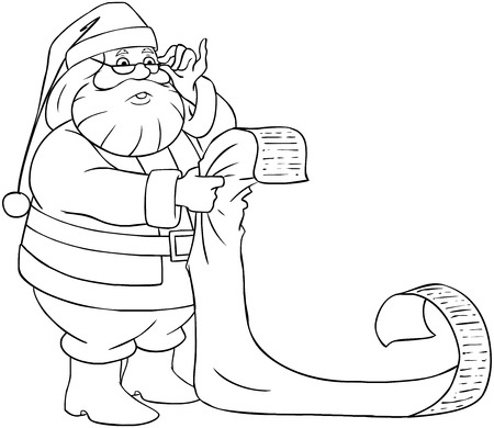 A vector illustration of Santa Claus holding and reading from his Christmas list of good and bad children.  Vector