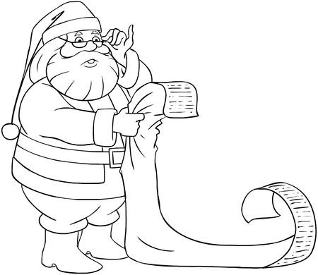 Ilustración Vectorial Para Colorear De Santa Y La Sra. Claus De Pie ...
