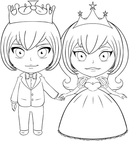 inked: Vector illustration coloring page of a prince and princess holding hands and smiling.  Illustration