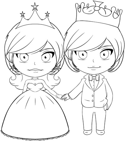 Vector illustration coloring page of a prince and princess holding hands and smiling.  Vector