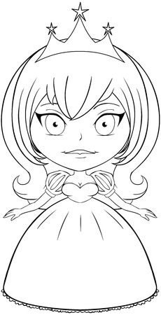 Vector illustration coloring page of a beautiful princess smiling.  Vector