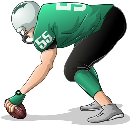 Vector illustration of a football player in green uniforms kneels and holds football.