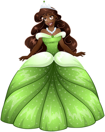 Vector illustration of a beautiful african princess in green dress.  Vector