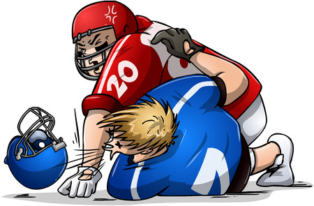 angry blonde: Vector illustration of two football players fighting.