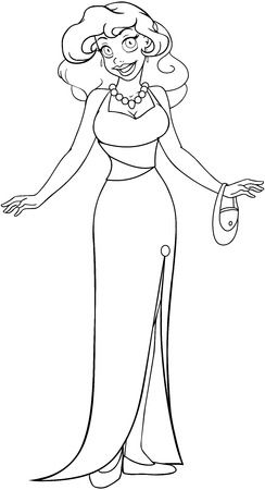 Vector illustration coloring page of an african woman in an evening dress.  Illustration