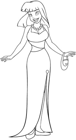 Vector illustration coloring page of an asian woman in an evening dress.  Vector