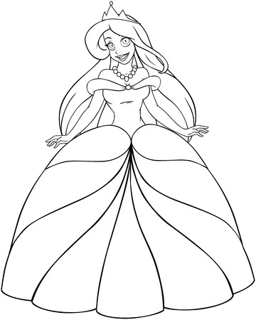 Vector illustration coloring page of a beautiful caucasian princess.  Illustration