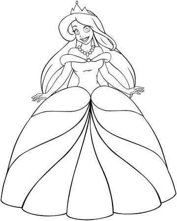 Vector illustration coloring page of a beautiful caucasian princess.  Vector