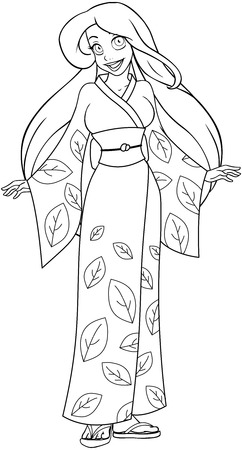 Vector illustration coloring page of a caucasian woman in traditional japanese kimono.