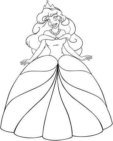Vector illustration coloring page of a beautiful african princess.  Vector