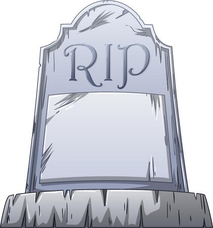 Vector illustratie van een oude graf met RIP geschreven op de stenen. Stock Illustratie