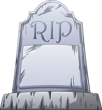 Vector illustration of an old grave with RIP written on the stone.