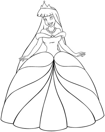 Vector illustration coloring page of a beautiful asian princess.  Vector