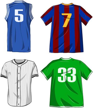Vector illustraties pak van diverse sporten overhemden. Stock Illustratie
