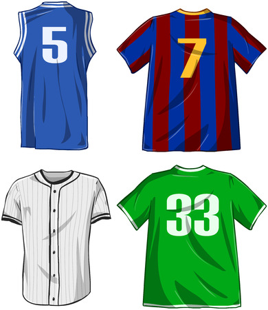 jerseys: Vector illustrations pack of various sports shirts.