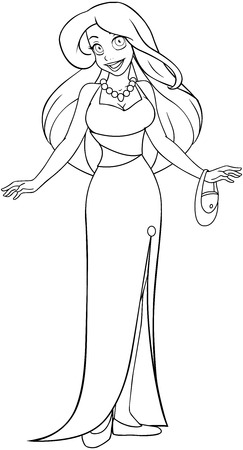 Vector illustration coloring page of a woman in an evening dress.  Vector