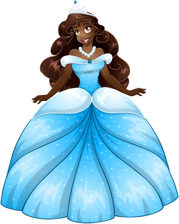 Vector illustration of a beautiful african princess in blue dress.  Vector