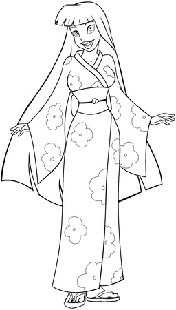 japanese kimono: Vector illustration coloring page of an asian woman in traditional japanese kimono.