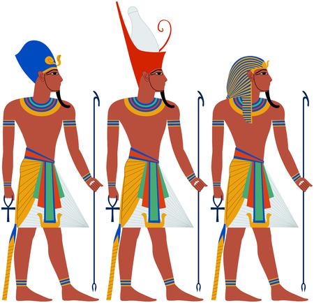 hombre con sombrero: Ilustraci�n del vector del antiguo Egipto Fara�n tres paquetes