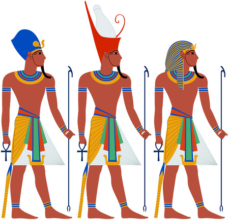 egyptian pyramids: Vector illustration of ancient Egypt Pharaoh three pack