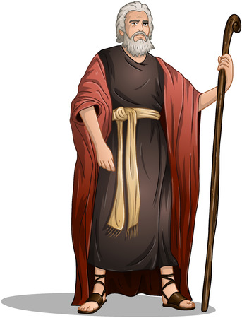 bible: Vector illustration of Moses standing for Passover