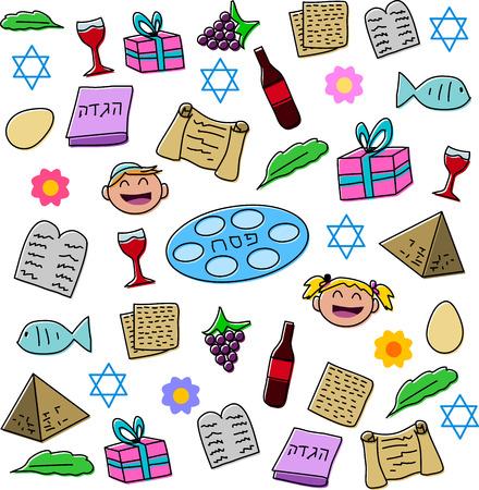Vector illustratie pak van Pesach symbolen en pictogrammen Stock Illustratie