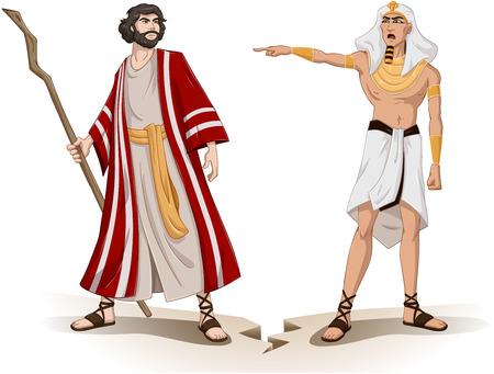 Moses を離れて送信するファラオのベクトル イラスト  イラスト・ベクター素材