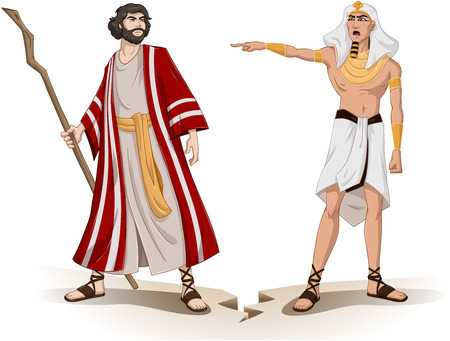 bible ten commandments: Vector illustration of Pharaoh sending Moses away
