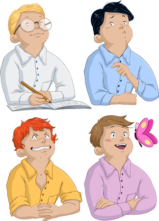 Vector illustration of four boys asking questions for passover