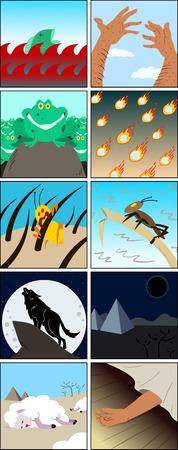 Vector illustratie van de tien plagen Mozes gezonden aan de Egyptenaren