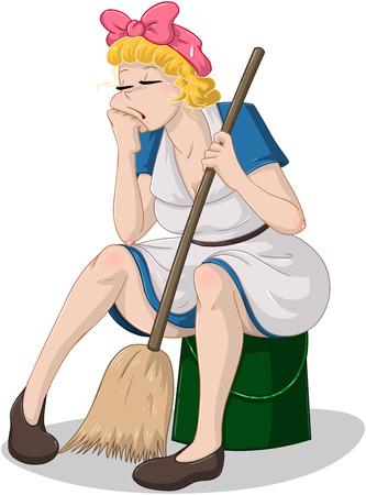 cleaning equipment: Illustrazione vettoriale di una donna delle pulizie stanco seduto su un secchio