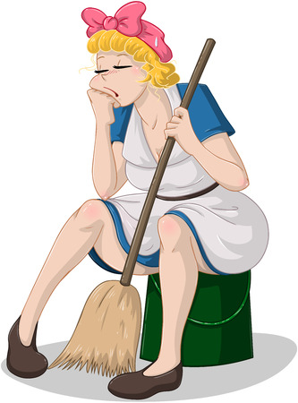 Ilustración vectorial de una señora de la limpieza cansada sentado en un cubo