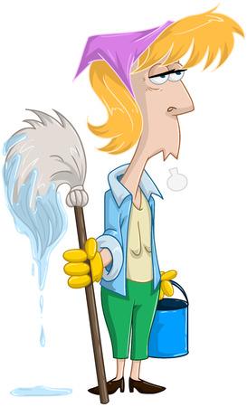 Vector illustratie van een vermoeide blonde vrouw die dweil en emmer