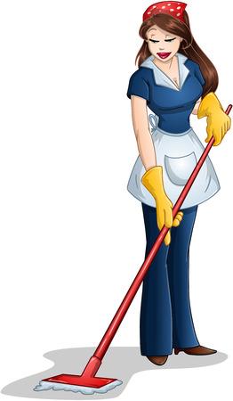 Ilustración vectorial de una mujer de la limpieza con un trapeador para la Pascua