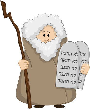 Vector illustration of Moses holding the ten commandments