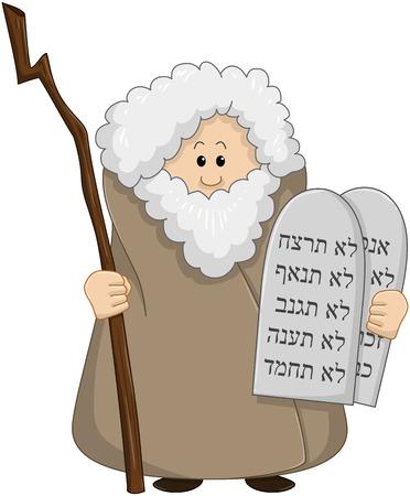 bible ten commandments: Vector illustration of Moses holding the ten commandments