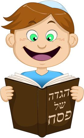 yarmulke: Vector illustration of a boy reading from Haggadah on Passover