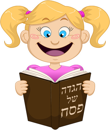 Vector illustration of a girl reading from Haggadah on Passover